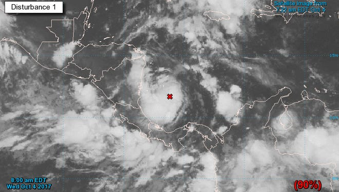 Image of Disturbance 1 in the Atlantic as of 10:20 a.m. on Wednesday, Oct. 4