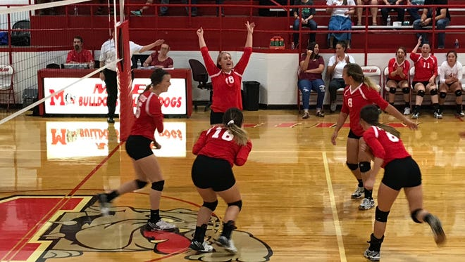 The Miles High School volleyball team celebrates during a 25-22, 17-25, 25-15, 27-25 District 7-2A win over Veribest at home on Tuesday, Oct. 3, 2017.