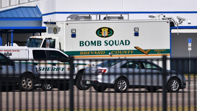 Titusville police say a suspicious bag packed with an item designed to look like an explosive and left behind on the campus of Titusville High School, was a hoax device. No suspects have been arrested. The school was evacuated and both lanes of US 1 shut down for the investigation. The BCSO bomb squad responded to the threat.