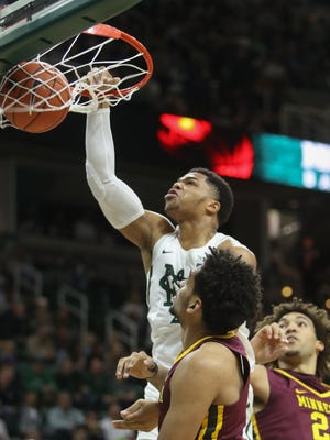 Michigan State's Miles Bridges scores against Minnesota in the first half of MSU's 65-47 win Jan. 11, 2017 at Breslin Center.
