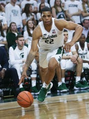 Michigan State forward Miles Bridges drives to the basket during the second half of MSU's 80-72 exhibition win over Ferris State on Thursday, Oct. 26, 2017, at Breslin Center.