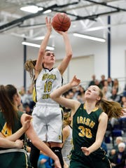 Delone Catholic's Maddie Clabaugh shoots against York Catholic in the first half Friday, Feb. 23, 2018, in a PIAA District 3 Class 3A girls' semifinal basketball game at West York. York Catholic defeated Delone Catholic 57-48 to advance to the district final.
