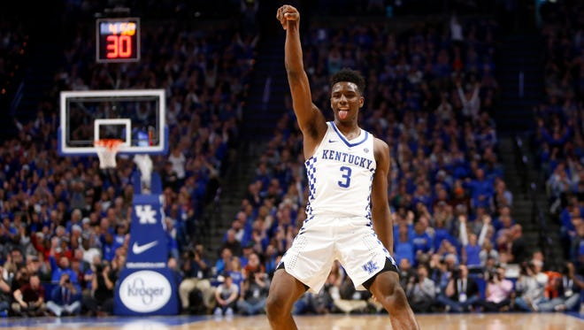 Hamidou Diallo #3 of the Kentucky Wildcats celebrates after making a 3-pointer in the closing second against the Virginia Tech Hokies during the second half at the Rupp Arena in Lexington on Saturday, Dec. 16, 2017.