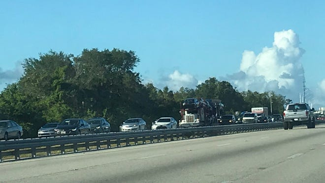 At 3:50 p.m. Sunday, traffic was being let through slowly but still backed up north of Pineda Causeway for a wreck being cleaned up south of Pineda exit.