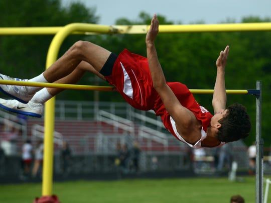 Piketon's Timothy Trawick clears the high jump bar
