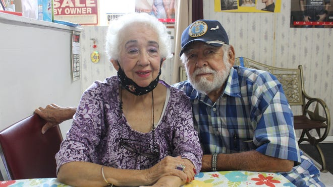 Petra and Joe Valdez, the owners of the Ideal Beauty Salon in Robstown, Texas. Petra Valdez has owned and operated the Salon since 1952.