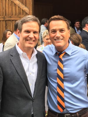 Republican gubernatorial candidate Bill Lee (left) raised $1.3 million at a fundraiser held at barn owned by Christian musician Michael W. Smith (right) on Tuesday, June 6, 2017 in Franklin, Tenn.