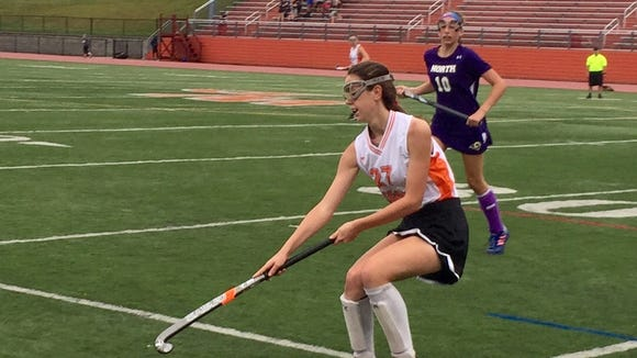Tiger Olivia DeMarco controls ball as Clarkstown North's