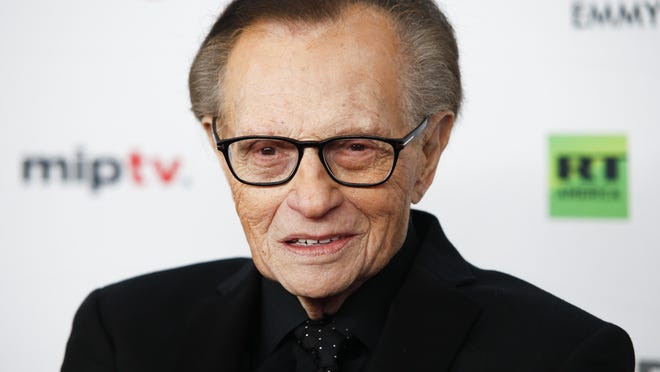 FILE - In this Nov. 20, 2017, file photo, Larry King attends the 45th International Emmy Awards at the New York Hilton, in New York. Former CNN talk show host King has been hospitalized with COVID-19 for more than a week, the news channel reported Saturday, Jan. 2, 2021. CNN reported the 87-year-old King contracted the coronavirus and was undergoing treatment at Cedars-Sinai Medical Center in Los Angeles.