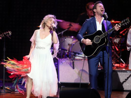 Clare Bowen and Charles Esten participate in the final US performance by the cast of the TV show Nashville Sunday March 25, 2018 at the Grand Ole Opry.