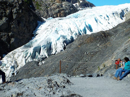 The Exit Glacier in Kenai Fjord National Park is an easy hiking destination.