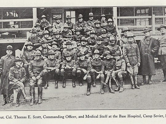 Lt. Col. Thomas E. Scott, commanding officer, and medical staff at the base hospital, Camp Sevier, SC.