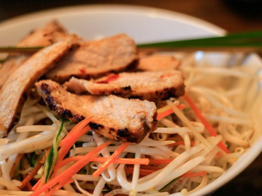 Cold Noodle Salad with Nuoc Cham Dressing and Pan-Seared Moroccan Pork