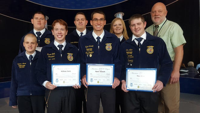 Juda High School ag teacher and FFA Advisor Ralph Johnson supports his students that earned the coveted American FFA Degree. Johnson was awarded the Honorary American FFA Degree for teachers at the 2016 National FFA Convention and Expo.