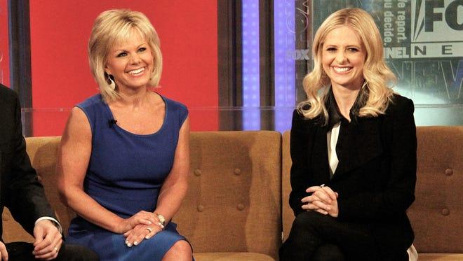 """Gretchen Carlson, left, with actor Sarah Michelle Gellar, on """"Fox & Friends"""" in 2013."""