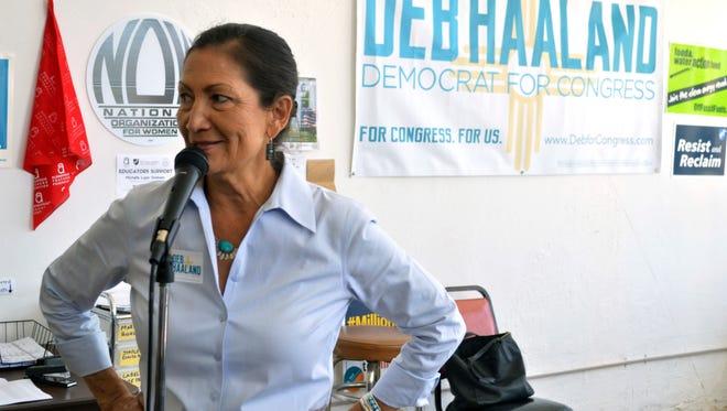 Debra Haaland, a Democratic candidate for Congress, speaks at her Albuquerque headquarters on June 4, 2018.