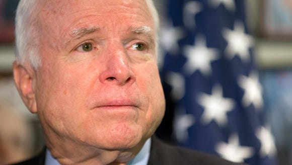 Sen. John McCain, R-Ariz., speaks Friday about ISIS