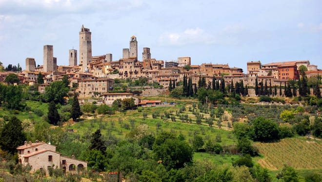 Pointy skylines, like that of San Gimignano, were the norm in Tuscany in the Middle Ages.