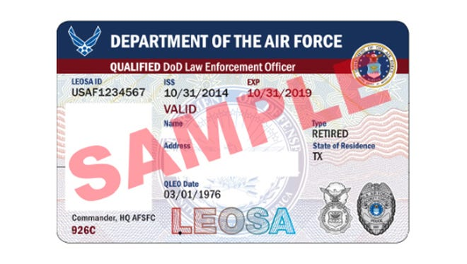 A Law Enforcement Officers Safety Act license sample issued to qualified Air Force personnel.