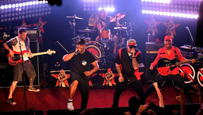Tim Commerford (from left), Chuck D, Brad Wilk, B-Real and Tom Morello of Prophets of Rage perform onstage at Whisky a Go Go on May 31, 2016 in West Hollywood, California.