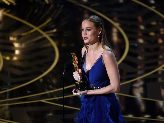 Brie Larson accepts the Oscar for Best Actress for
