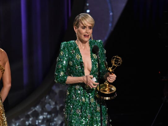 Sarah Paulson accepts the award for Outstanding Lead