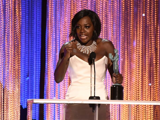 Viola Davis accepts the award for outstanding performance