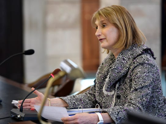 Caren Turner during her confirmation hearing to become a commissioner of the Port Authority of New York and New Jersey.