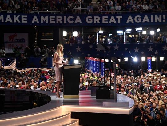Ivanka Trump, daughter of Donald Trump, speaks during