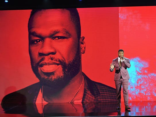 Rapper 50 Cent speaks onstage during the 2017 BET Upfront
