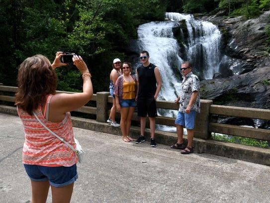 Tourist from Michigan enjoying the Bald River Falls