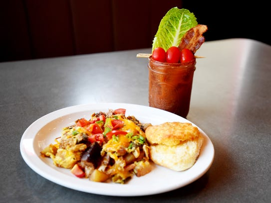 Luella's Bar-B-Que's Hangover Helper and bloody mary