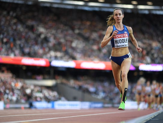 Molly Huddle competes in the women's 5,000 meters prelims