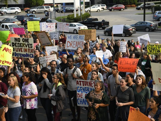 Protesters march in Nashville in support of Deferred