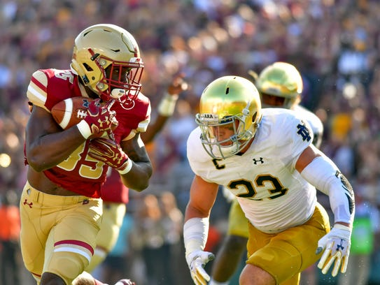 Boston College Eagles running back Travis Levy (35)