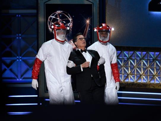Stephen Colbert performs a 'Westworld' gag.