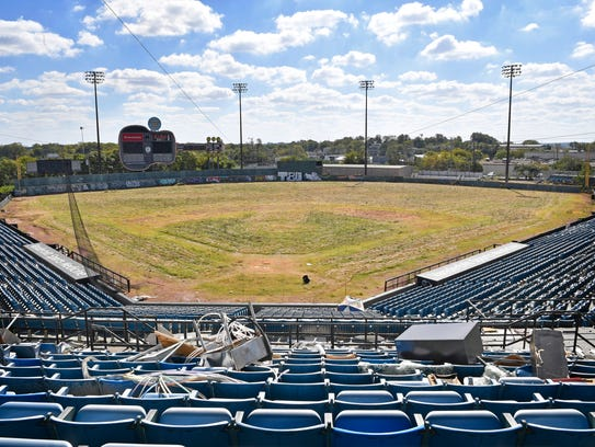 The old Greer Stadium is in the shadow of Fort Negley.