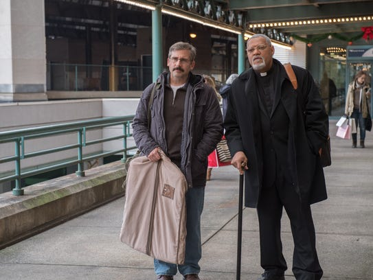 "Steve Carell and Laurence Fishbirne in ""Last Flag Flying."""