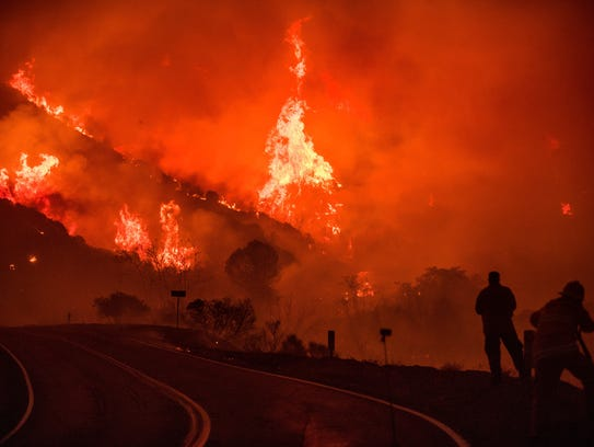 The Thomas fire burns through Los Padres National Forest