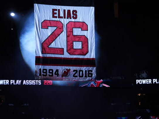 Patrik Elias jersey retirement ceremony before the