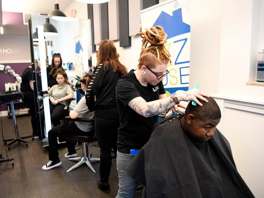 """Students from John F. Kennedy School in Newark get their hair done at Hair491 during the """"Something Wonderful"""" event, run by Jazz House Kids and provides a day of pampering at Hair491 with food and music, on Wednesday, April 11, 2018."""