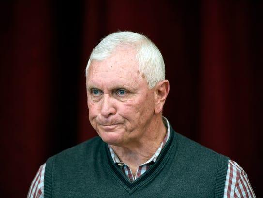 Bob Hurley, Saint Anthony High School president, speaks