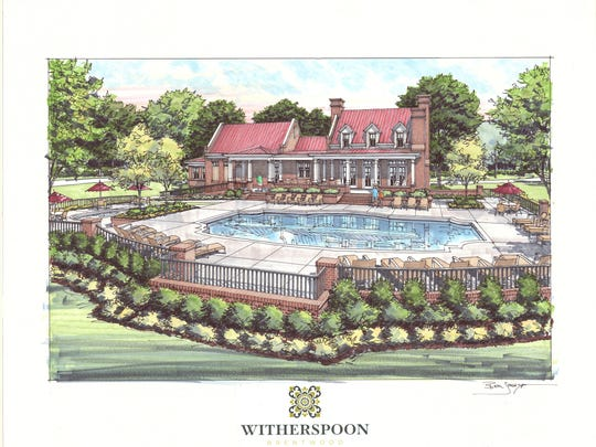 A rendering of the clubhouse at Witherspoon, a new luxury development being built in Brentwood.