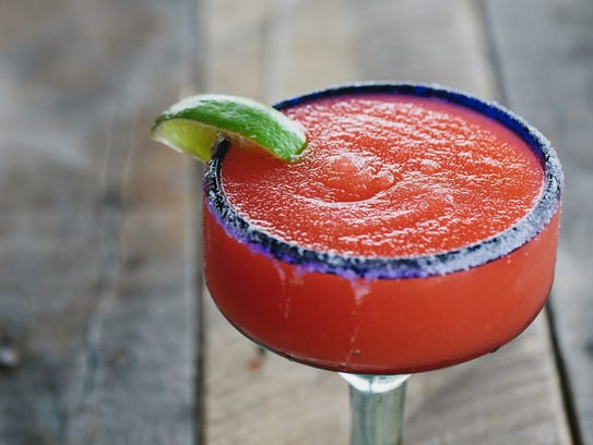 The frozen strawberry margarita at Someburros.
