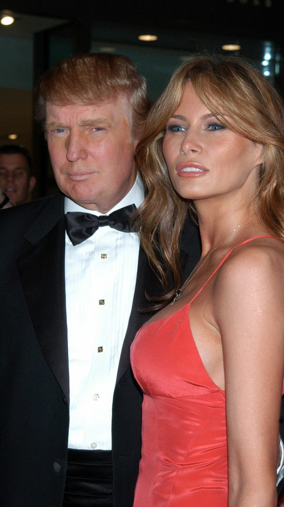 Donald and Melania Trump arrive at the celebration