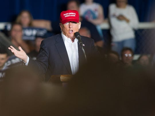 Donald Trump holds a rally at the Delaware State Fairgrounds in Harrington on Friday. The  primary is Tuesday.