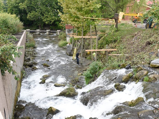 A sluiceway support system is being installed at the Water Wheel Site at Chambersburg Fort on Wednesday, Oct. 5, 2016. The Water Wheel is expected to make a return to the area on October 24.