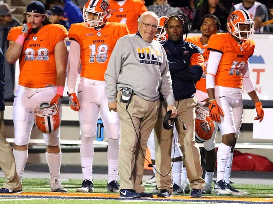 UTEP head coach Mike Price watches the action on the field Saturday.
