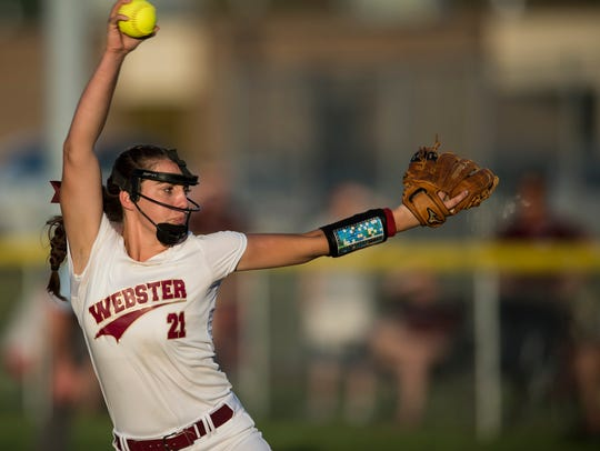 Webster's Karlie Keeney (21) pitches against Henderson