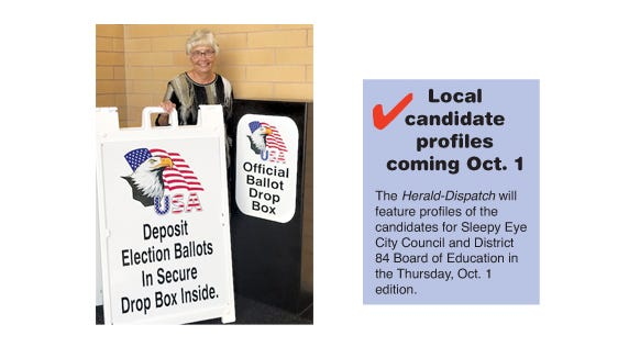 (Left) Jean Prochniak, Brown County Auditor-Treasurer shows the secure ballot drop box, located in the Brown County Law Enforcement Center, and the sign that stands on the sidewalk outside the doors to direct voters where to drop off completed ballots for the Nov. 3 election. (Right) Watch for candidate profiles on Oct. 1.